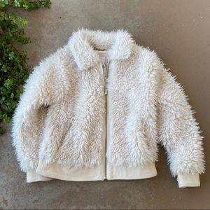 BCBGeneration Cream Faux Fur Jacket Coat